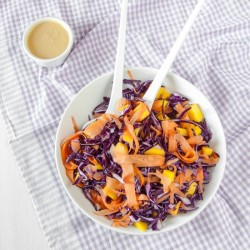 Raw Red Cabbage Salad with Mango