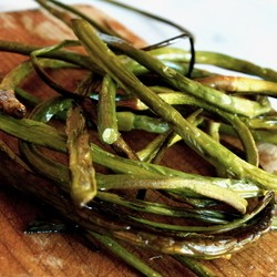 Roasted Garlic Scapes for Pasta with Morels