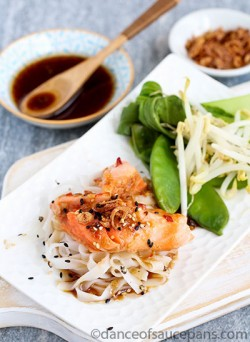 Salmon and Rice Noodle Warm Salad