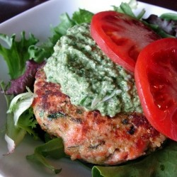 Salmon Cakes with Tomatillo Cilantro Pesto