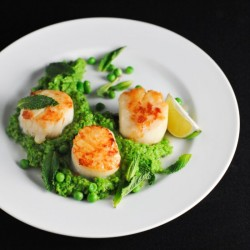 Scallops with Thai Scented Pea Mash