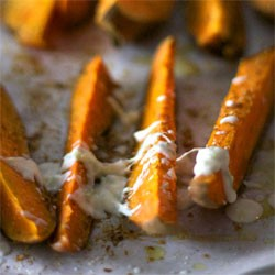 Sweet Potato Wedges with Lemon Lime Creme Fraiche Recipe
