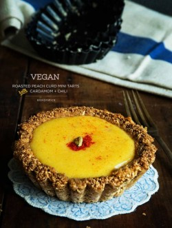 Vegan Roasted Peach Curd Mini Tarts