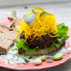 Asian Flavored Veggie Burger with Asparagus Fries and Marinated Golden Beets