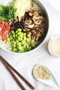 Asian Mushroom Rice Bowl