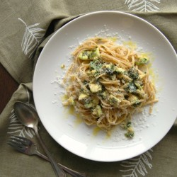 Avocado and lemon zest linguine