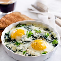 Baked Eggs with fresh Spinach and Swiss Chard