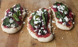 Beet greens pizza