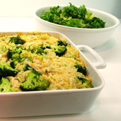 Broccoli Cheese Orzo Bake