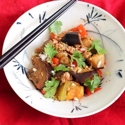 Chinese Aubergine with Green Tomatoes and Veal Recipe