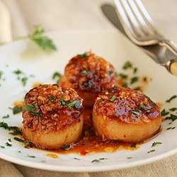 Grilled Scallops with Red Yuzu Kosho Vinaigrette Recipe