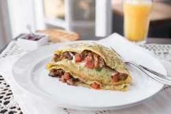 Pancetta Sausage Tomato and Chive Omelette Recipe