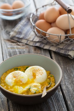 Poached Eggs w/Pumpkin Polenta