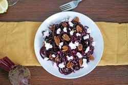 Roasted Beet Noodles with Honey Mustard Dressing Goat Cheese and Pecans Recipe