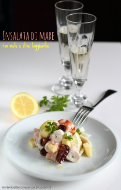 Seafood salad with apples and olive