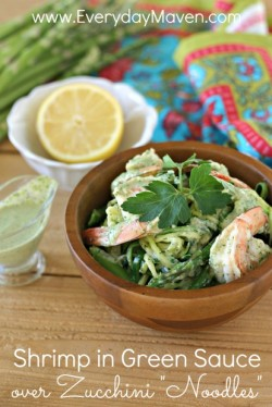 Shrimp in Green Sauce over Zoodles
