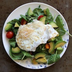 Spinach Avocado Tomato Breakfast Salad with Fried Egg Recipe
