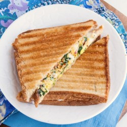 Spinach scrambled egg sandwich