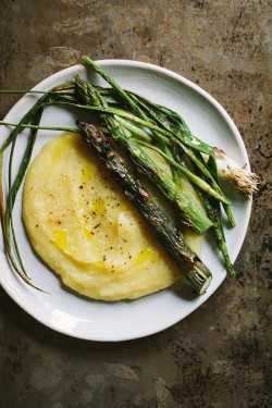 Spring Vegetables and Parsnip Puree