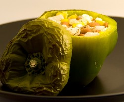 Wild Rice Corn and Bean Stuffed Bell Peppers