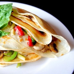 Breakfast Crepes with Peppers Mushrooms and Cheese