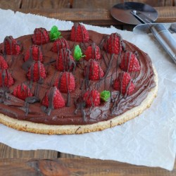 Chocolate raspberry cookie pizza