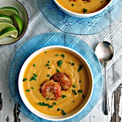 Curried Carrot Soup with Coconut Crusted Shrimp