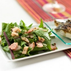 Dandelion Bacon Salad with Grilled Mackerel