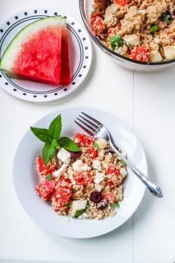 Greek Watermelon Feta Couscous Salad Recipe