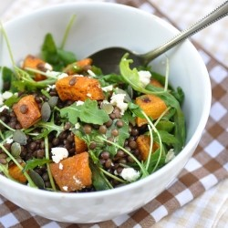 Lentil Pumpkin Salad with Arugula and Feta Cheese Recipe