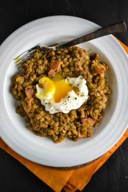 Lentils and Bacon with Poached Egg