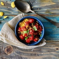 Parmesan Corn Flake Baked Cherry Tomatoes Recipe