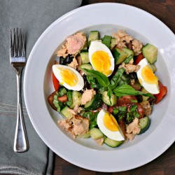 Potato Salad with Olives Tomatoes Capers and Tuna