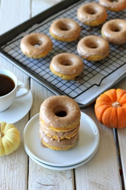 Pumpkin Donuts with Maple Glaze