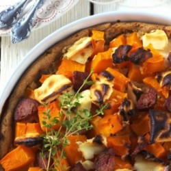 Pumpkin, Feta and Sausage Tart