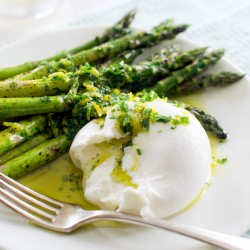 Quick Roasted Asparagus with Burrata and Gremolata