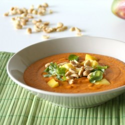 Red Pepper-Peanut Thai Soup w/Mango