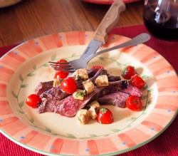 Red Wine Flank Steak with Caprese Salad Recipe