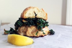 Shrimp Burgers Garlic Greens