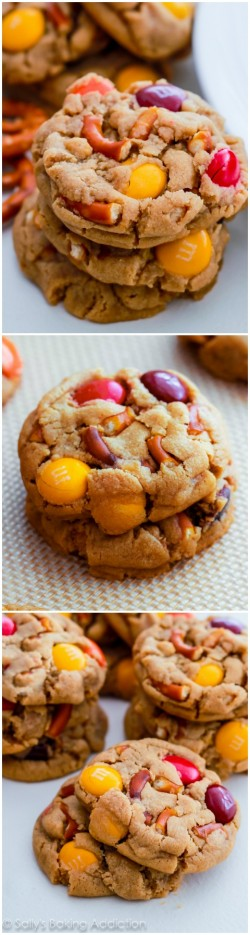 Soft baked Peanut Butter Pretzel MM Cookies