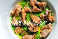 Soft torched salmon in green sauce