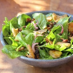 Spinach Salad with Pita Croutons Recipe