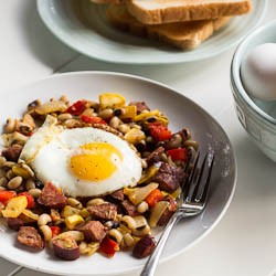 Andouille and Black-Eyed Pea Hash