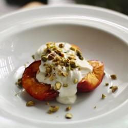 Baked Peaches with Rosewater Yogurt