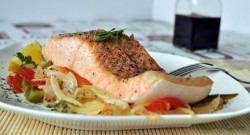 Baked Salmon with Peppers and Onion