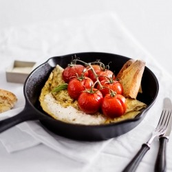 Basil Omelette with Cottage Cheese and Tomatoes Recipe