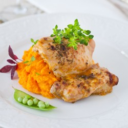 BBQ Roast Chicken with Carrot Puree Recipe