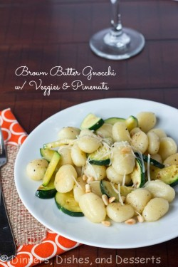 Brown Butter Gnocchi with Veggies Pinenuts
