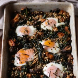Buckwheat and salmon baked eggs