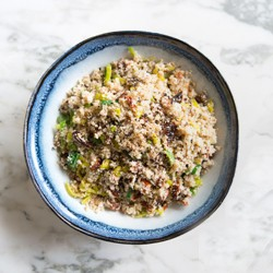 cauliflower cous cous with sun-dried tomato and leeks